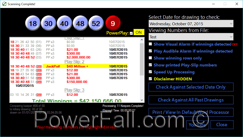 Lottery Software to check your Powerball Tickets