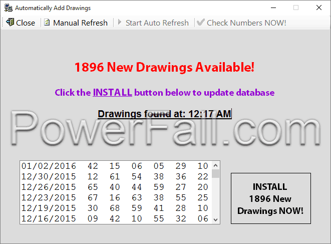 Photo showing The Lottery Picker™ 2020 automatically finding and downloading the latest Mega Millions Drawing.  Click the button to install the drawing into the database