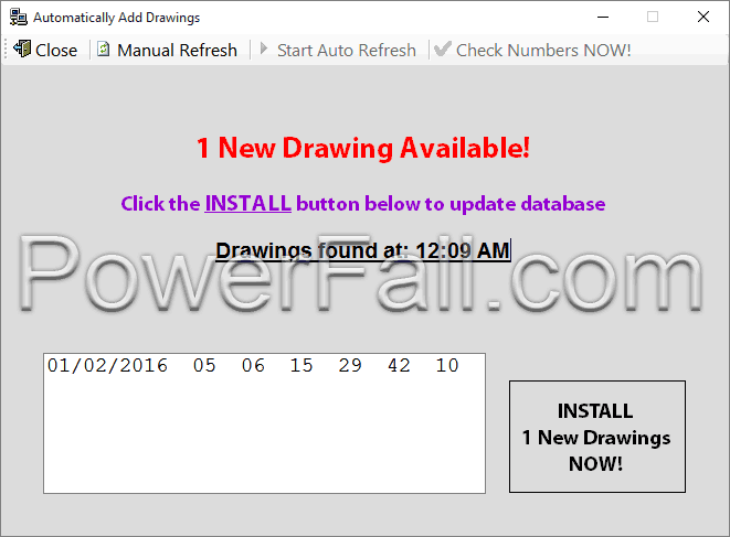 This photo shows The Lottery Picker™ 2019 automatically finding and downloading the latest Powerball Drawing.  Click the button to install the drawing into the database