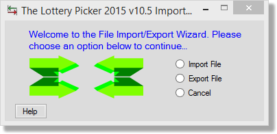 Import/Export, setip 1 - initial window