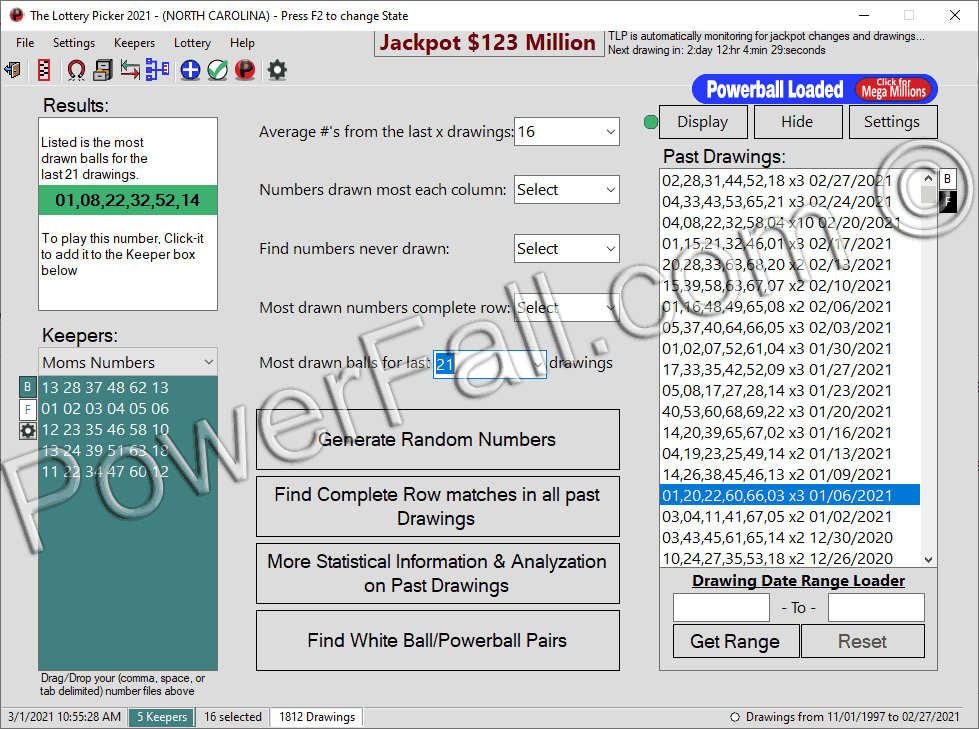 The Lottery Picker™ 2020Mega Millions computer software