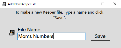 How to create a new Keeper file to save your numbers