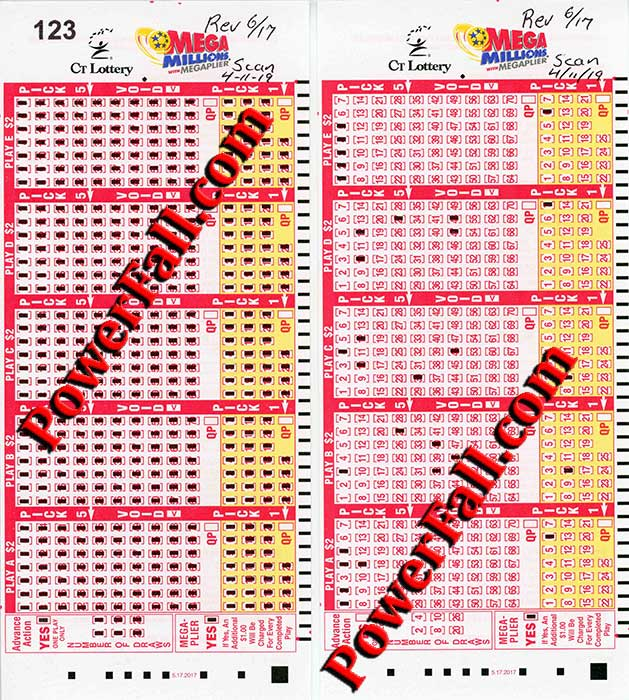 Photo of Printed Connecticut Play-Slip for Mega Millions